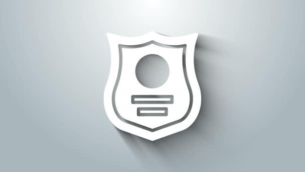 Fehér Rendőrség jelvény ikon elszigetelt szürke háttér. Seriff jelvény. 4K Videó mozgás grafikus animáció