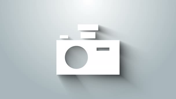 White Photo camera icon isolated on grey background. Foto camera icon. 4K Video motion graphic animation
