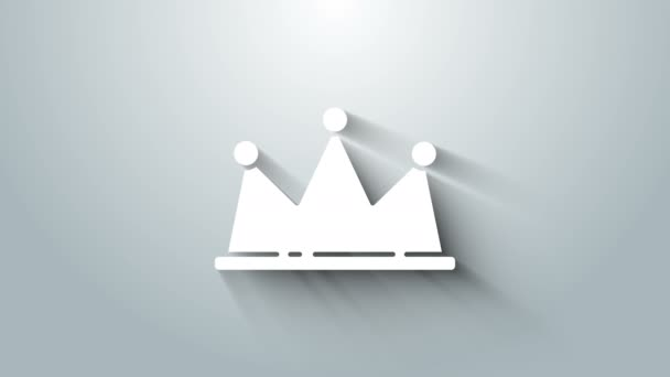 White Crown icon isolated on grey background. 4K Video motion graphic animation
