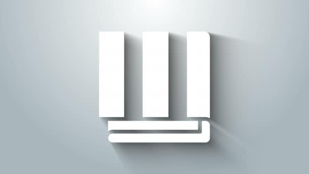 Bílý ručník zásobník ikona izolované na šedém pozadí. Grafická animace pohybu videa 4K