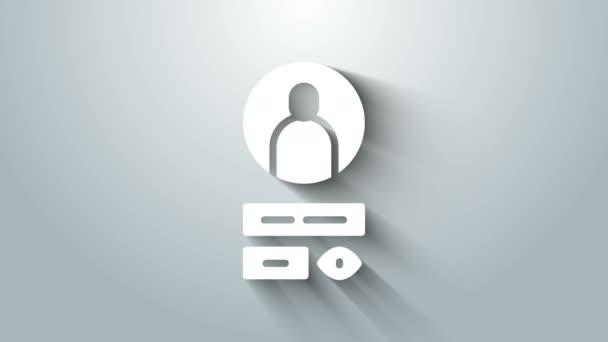 White Create account screen icon isoliert auf grauem Hintergrund. 4K Video Motion Grafik Animation