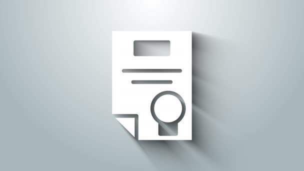 Fehér tanúsítvány sablon ikon elszigetelt szürke háttér. Teljesítmény, díj, diploma, támogatás, diploma fogalmak. 4K Videó mozgás grafikus animáció