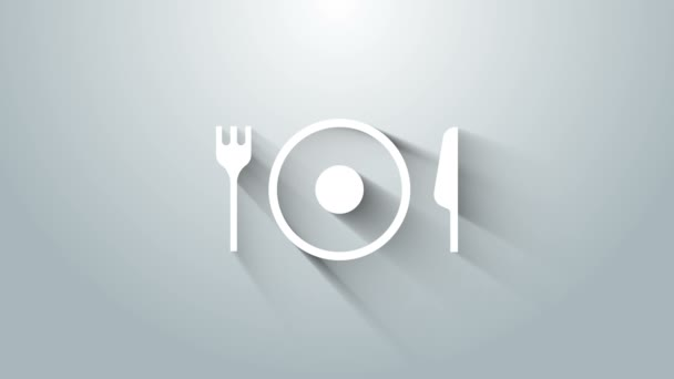 Bílá deska, vidlice a ikona nože izolované na šedém pozadí. Symbol příboru. Značka restaurace. Grafická animace pohybu videa 4K