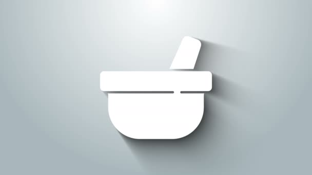 White Mortar and pestle icon isolated on grey background. 4K Video motion graphic animation