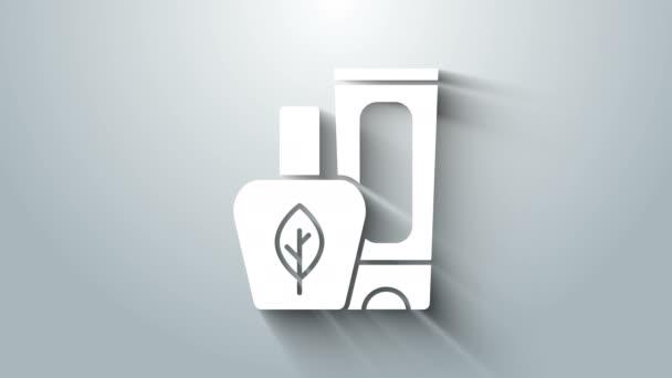 Weiße Salbe Creme Tube Medizin Symbol isoliert auf grauem Hintergrund. Tuben, Behälter, Zahnpasta, Cremeschild. 4K Video Motion Grafik Animation