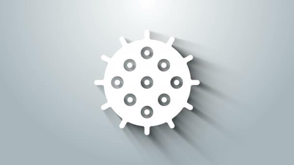 Fehér Tenisz labda ikon elszigetelt szürke háttér. Sportfelszerelés. 4K Videó mozgás grafikus animáció