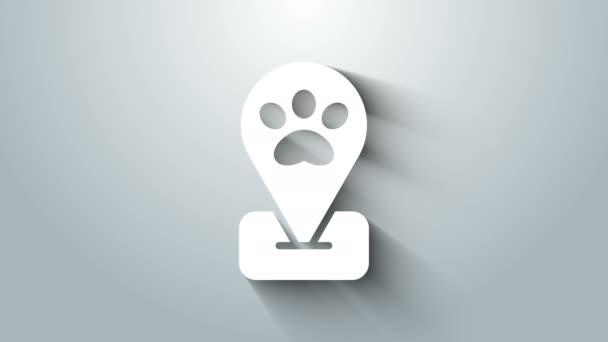 Fehér Helyszín kisállat ápolás ikon elszigetelt szürke háttér. Kisállat fodrászat. Fodrászat kutyáknak és macskáknak. 4K Videó mozgás grafikus animáció