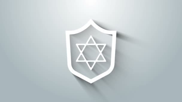 White Shield with Star of David icon isolated on grey background. Jewish religion symbol. Symbol of Israel. 4K Video motion graphic animation