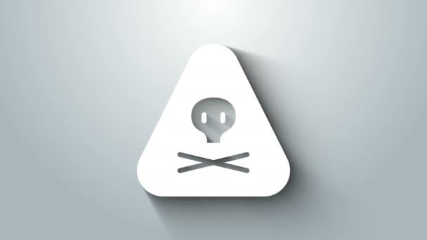 Weißes Dreieck Warnung giftiges Symbol isoliert auf grauem Hintergrund. 4K Video Motion Grafik Animation