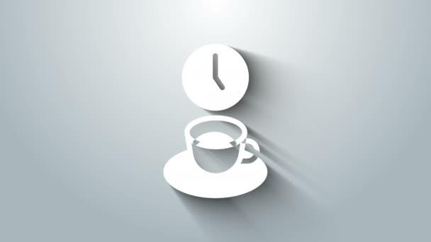 Bílá káva čas ikona izolované na šedém pozadí. Grafická animace pohybu videa 4K