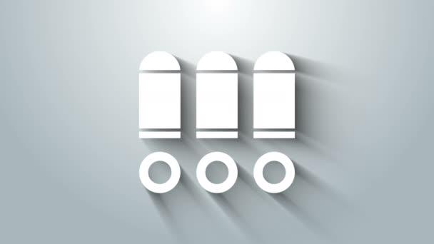 White Bullet Symbol isoliert auf grauem Hintergrund. 4K Video Motion Grafik Animation
