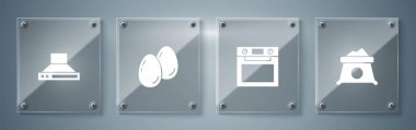 Set Bag of flour, Oven, Easter eggs and Kitchen extractor fan. Square glass panels. Vector. icon