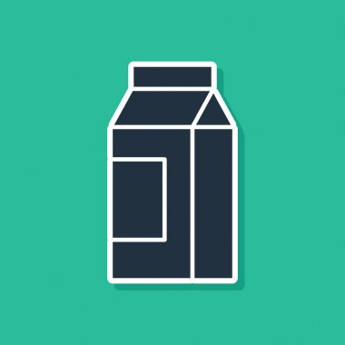 Blue Paper package for milk icon isolated on green background. Milk packet sign.  Vector. icon