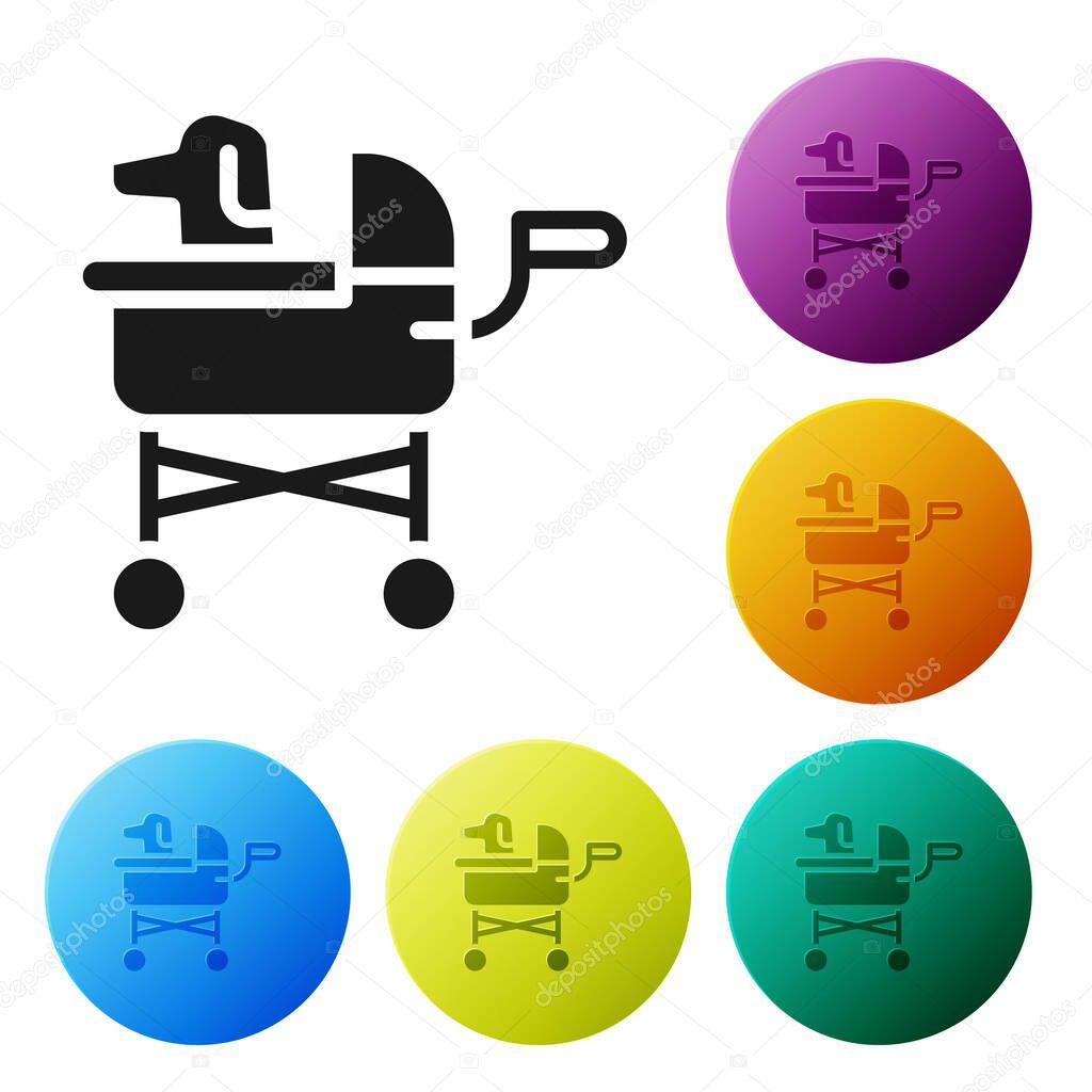 Black Pet stroller icon isolated on white background icon
