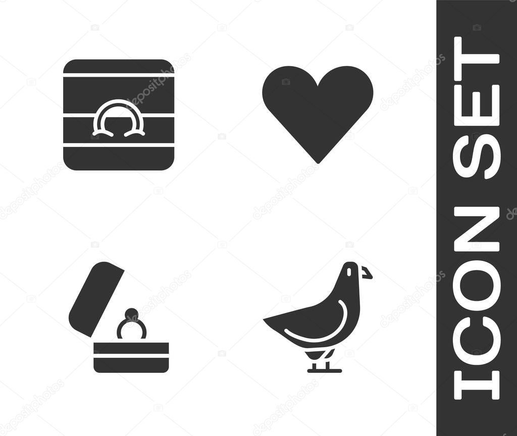Set Dove  Wedding rings  and Heart icon icon