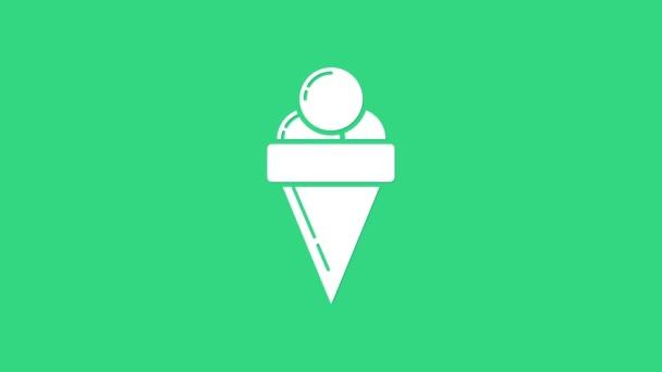 Bílá zmrzlina ve vaflovacím kuželu ikona izolované na zeleném pozadí. Pěkný symbol. Grafická animace pohybu videa 4K