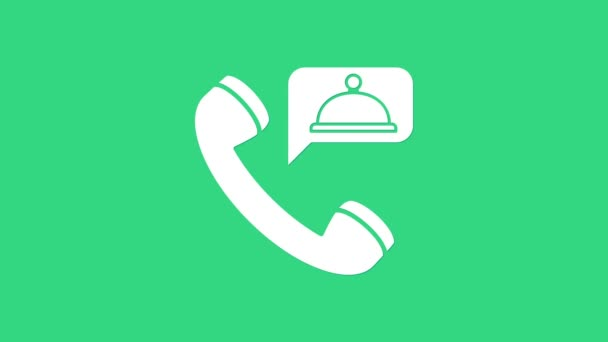 White Food Bestellsymbol isoliert auf grünem Hintergrund. Bestellung per Handy. Restaurantfutterlieferkonzept. 4K Video Motion Grafik Animation