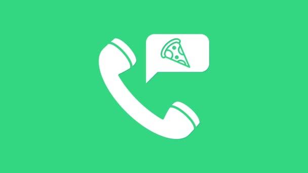 White Food rendelés pizza ikon elszigetelt zöld alapon. Rendelés mobiltelefonnal. Éttermi ételszállítás koncepciója. 4K Videó mozgás grafikus animáció