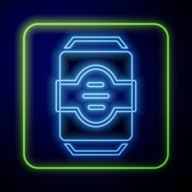 Glowing neon Energy drink icon isolated on blue background.  Vector. icon