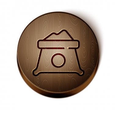 Brown line Bag of flour icon isolated on white background. Wooden circle button. Vector. icon