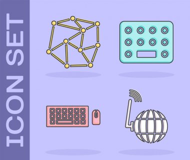 Set Social network, Neural network, Keyboard and mouse and Pills in blister pack icon. Vector. icon