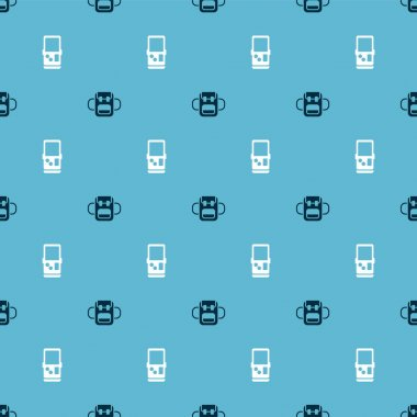 Set School backpack and Tetris on seamless pattern. Vector. icon