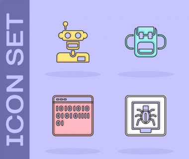 Set Insects in a frame, Robot, Binary code and School backpack icon. Vector. icon