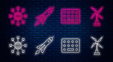 Set line Rocket ship with fire, Pills in blister pack, Social network and Wind turbine. Glowing neon icon on brick wall. Vector. icon