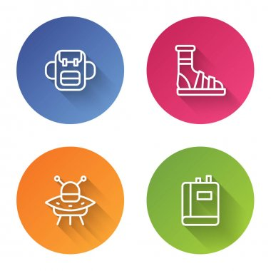 Set line School backpack, Slippers with socks, UFO flying spaceship and Book. Color circle button. Vector. icon