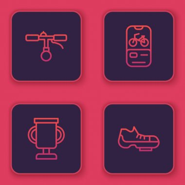Set line Bicycle handlebar, Award cup with bicycle, rental mobile app and shoes. Blue square button. Vector.