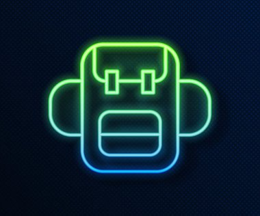 Glowing neon line School backpack icon isolated on blue background.  Vector. icon