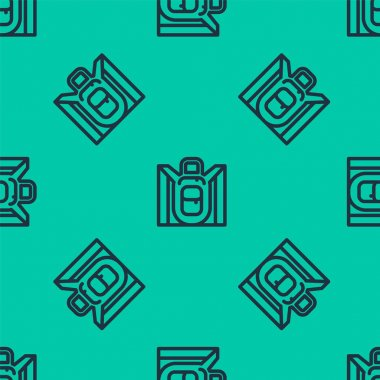 Blue line Hiking backpack icon isolated seamless pattern on green background. Camping and mountain exploring backpack.  Vector. icon
