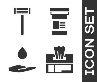 Set Wet wipe pack, Shaving razor, Washing hands with soap and Medicine bottle icon. Vector. icon