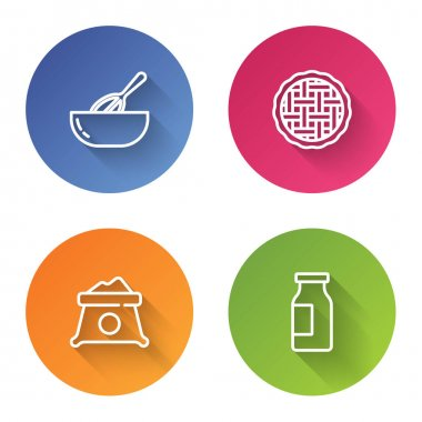 Set line Kitchen whisk and bowl, Homemade pie, Bag of flour and Bottle with milk. Color circle button. Vector. icon