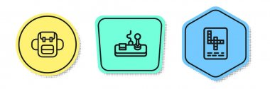 Set line School backpack, Gamepad and Crossword. Colored shapes. Vector. icon
