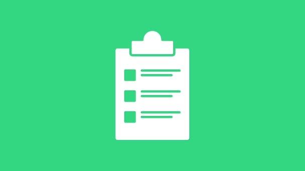 Weiße Zwischenablage mit Checklisten-Symbol auf grünem Hintergrund. Kontrolllisten-Symbol. Umfrage oder Fragebogen-Feedback-Formular. 4K Video Motion Grafik Animation