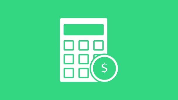 Bílá kalkulačka s ikonou symbolu dolaru izolovaná na zeleném pozadí. Koncept úspory peněz. Účetní symbol. Grafická animace pohybu videa 4K