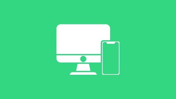 Weißer Computermonitor und Handy-Symbol isoliert auf grünem Hintergrund. Erträge im Internet, Marketing. 4K Video Motion Grafik Animation