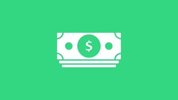 Bílé zásobníky papírové peníze peníze ikona izolované na zeleném pozadí. Hromádky bankovek. Bilanční měna. Grafická animace pohybu videa 4K
