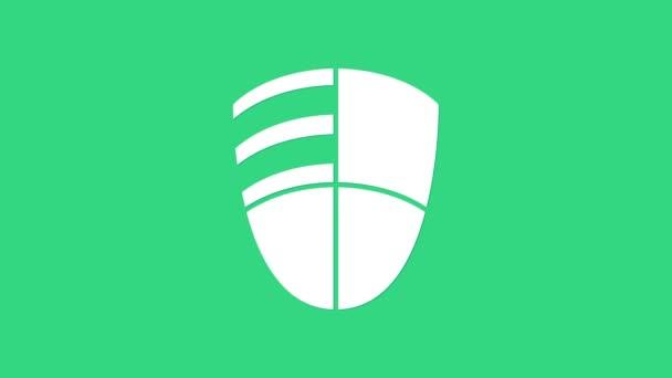 Fehér labdarúgó klub logó sablon ikon elszigetelt zöld alapon. Logó, címke, embléma, aláírás, poszter tervezési eleme. 4K Videó mozgás grafikus animáció