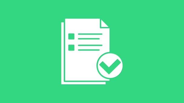 Weißes Dokument und Häkchensymbol isoliert auf grünem Hintergrund. Checklisten-Symbol. Geschäftskonzept. 4K Video Motion Grafik Animation