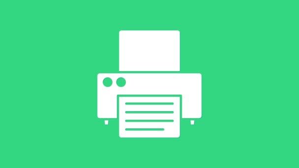 Weißes Druckersymbol isoliert auf grünem Hintergrund. 4K Video Motion Grafik Animation