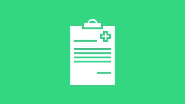 Weiße medizinische Zwischenablage mit klinischen Aufzeichnungen auf grünem Hintergrund. Krankenversicherungsformular. Verschreibung, ärztliche Kontrollzeichen melden. 4K Video Motion Grafik Animation