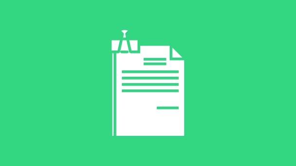 Weißes Dokument und Ordnerclip-Symbol isoliert auf grünem Hintergrund. Checklisten-Symbol. Geschäftskonzept. 4K Video Motion Grafik Animation