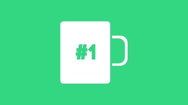 Fehér kávé csésze ikon elszigetelt zöld háttérrel. Teáscsésze. Forró kávé. 4K Videó mozgás grafikus animáció