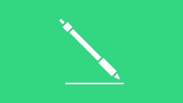 White Pen line Icon isoliert auf grünem Hintergrund. 4K Video Motion Grafik Animation