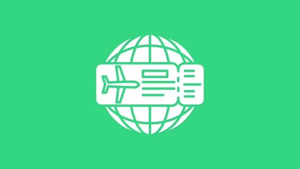 Fehér Repülőjegy ikon elszigetelt zöld háttérrel. Repülőjegy. 4K Videó mozgás grafikus animáció
