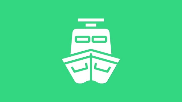 White Ship icon isolated on green background. 4K Video motion graphic animation