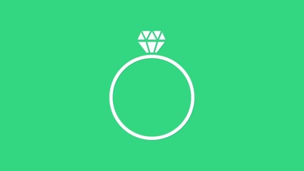 White Diamond zásnubní prsten ikona izolované na zeleném pozadí. Grafická animace pohybu videa 4K