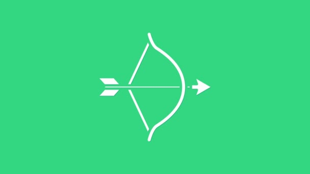 White Bow and arrow icon isolated on green background. Cupid symbol. Love sign. Valentines day concept. 4K Video motion graphic animation